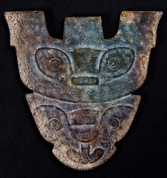 Figure 92. Liangzhu butterfly plaque with two god beasts.
